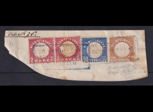 Baden 4 Stempelmarken (Ausgabe 1875) gestempelt auf Unterlage. ANSEHEN !