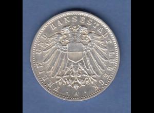 Deutsches Kaiserreich Lübeck Silbermünze 2 Mark 1904 A vorzügl.-stempelglanz