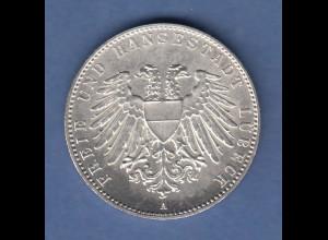 Deutsches Kaiserreich Lübeck Silbermünze 2 Mark 1901 A vorzügl.-stempelglanz