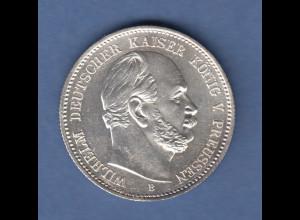 Deutsches Kaiserreich Preußen Wilhelm I. Silbermünze 2 Mark 1876 A vz-stg !!!
