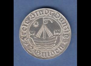 Danzig Silber-Kursmünze Kogge 2 Gulden 1932 vorzüglich !