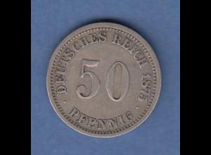 Deutsches Reich Silber-Kursmünze 50 Pfennig 1875 C