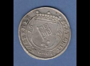 Bremen Leopold I. Silbermünze 24 Grote 1666 Stadtwappen / Reichsadler