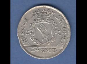 Bremen Franz I. Stephan Silbermünze 24 Grote 1749 Stadtwappen / Reichsadler