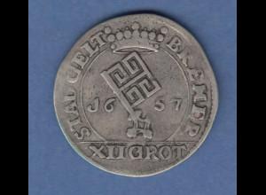 Bremen Ferdinand III. . Silbermünze 12 Grote 1657 Stadtwappen / Reichsadler