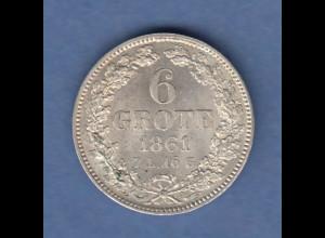 Bremen Kursmünze 6 Grote 1861