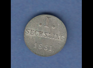 Hamburg 1851 Courantmünze 1 Sechsling , vorzüglich !