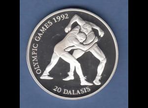 Gambia Silbermünze Olympische Spiele 1992 Barcelona 20 Dalasis Ringen