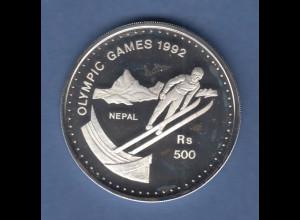 Nepal Silbermünze Olympische Spiele 1992 Albertville 500 Rs Skispringen