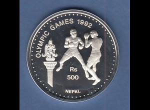 Nepal Silbermünze Olympische Spiele 1992 Barcelona 500 Rs Boxen