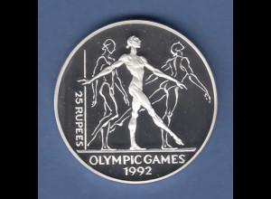 Seychellen Silbermünze Olympische Spiele 1992 Barcelona 25 Rupees Frauenturnen