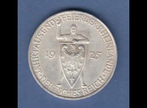 Deutsches Reich Silber-Gedenkmünze Rheinlande 5 Mark 1925 F vorzüglich !