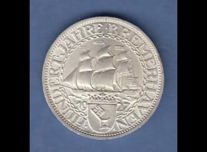 Deutsches Reich Silber-Gedenkmünze Bremerhaven 3 Mark 1927 A vorzüglich !