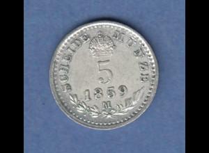 Österreich / Ungarn Franz Joseph Scheidemünze 5 Kreuzer 1859 M vzgl.