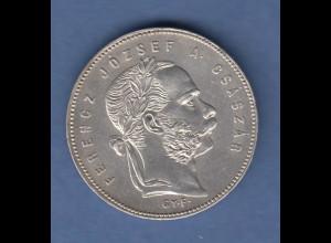 Österreich / Ungarn Silbermünze Franz Joseph 1 Gulden 1869 G.Y.F. vzgl.