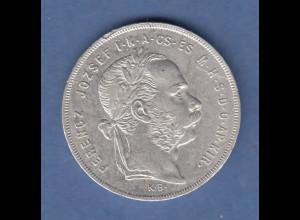Österreich / Ungarn / Magyar Silbermünze Franz Joseph 1 Forint 1879 K.B. vz