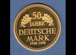 Grosse Goldmedaille 50 Jahre DEUTSCHE MARK 1948-1998 20g Gold Au585 PP