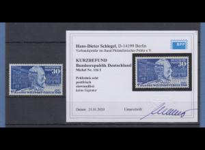 Bundesrepublik 1949 Stephan UPU mit PLF Mi.-Nr. 116 I Strich an der 0 ** Befund