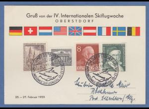 Internationale Skiflugwoche Oberstdorf 1955 Karte mit Sonderstempel
