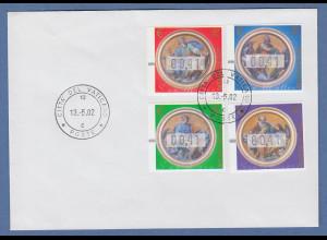 Vatikan ATM 3.Ausgabe Evangelisten 2002 Mi.-Nr. 11-14x auf FDC, je Wert 00,41
