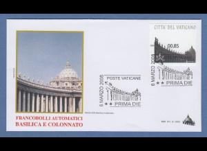 Vatikan ATM 5.Ausgabe Kollonade Petersplatz Sonderdruck Mi.-Nr. 18 So auf FDC