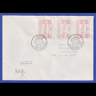 Portugal seltener R-Brief mit 3 Orts-ATM 001 und Orts-O Portimao 19.1.1983 !
