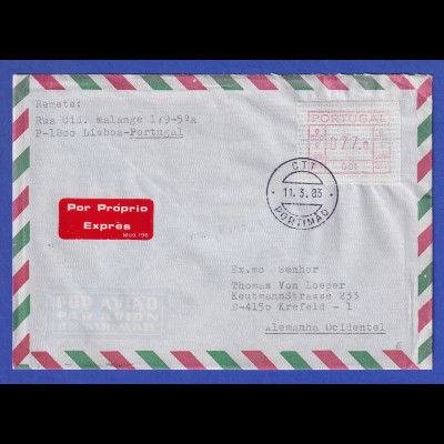 Portugal Express-Brief mit VS-ATM 001 und VS-O Portimao 11.3.83
