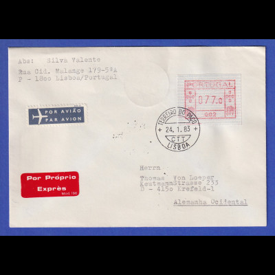 Portugal Eil-Brief mit OA-ATM 002 und VS-O TERREIRO DO PACO 24.1.83