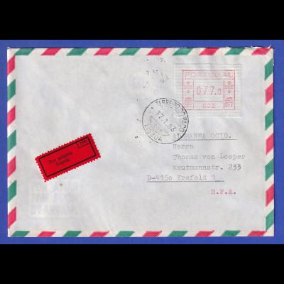 Portugal Einschreibe-Brief mit OA-ATM 002 und VS-O TERREIRO DO PACO 17.1.83