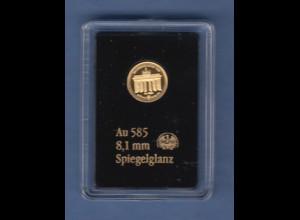 Goldmedaille 0,29g Au 585 Berlin Brandenburger Tor 2016