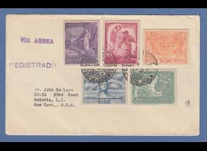 Brasilien 1945 Sieg der Alliierten auf KARTONPAPIER auf gel. R-Brief in die USA