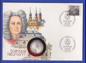 Numisbrief 1987 Balthasar Neumann mit Bund-Briefmarke und 5DM-Gedenkmünze