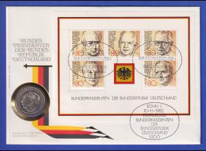 Numisbrief 1982 Bundespräsidenten mit Blockausgabe und 2DM-Kursmünze Th. Heuss