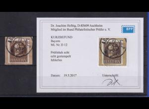 Bayern 1915 Eisenbahn-Dienstmarke Mi.-Nr. 12 gest. gepr. mit Befund Helbig BPP