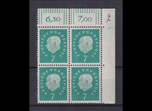 Bund Heuss 7 Pfg. Mi.-Nr. 302 Eckrand-Viererblock OR mit DZ 1 **