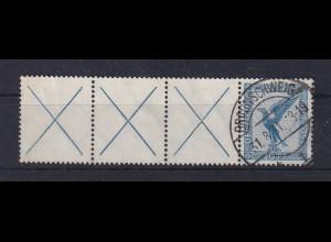 Dt. Reich Flugpost 1926 20Pfg mit 3 Leerfeldern links Mi.-Nr. W21.3 gestempelt.