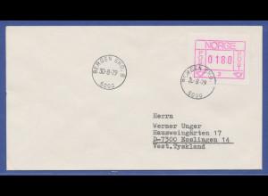 Norwegen Frama-ATM 1978, Automat 03, Brief mit ATM 180, y-Papier.