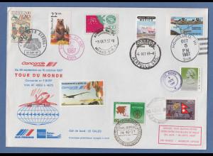 Concorde Tour du Monde 1987 30. Sept bis 16. Okt. Flugbrief rund um die Welt !