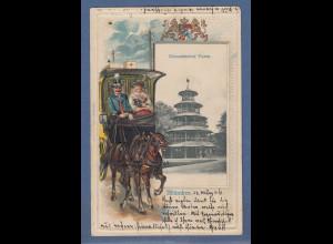 AK München Chinesischer Turm, gelaufen nach Tientsin / China 1906