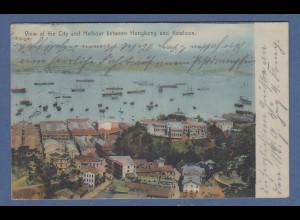 AK Hongkong Hafen mit Schiffen,histor. Bild gelaufen nach Tientsin / China 1906