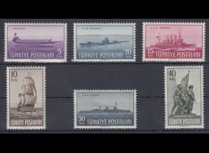Türkei 1949 Tag der türkischen Flotte Mi.-Nr. 1235-1240 kpl. Satz **