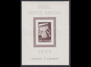 Türkei 1945 Volkszählung Mi.-Nr. 1172 Blockausgabe Block 3 **