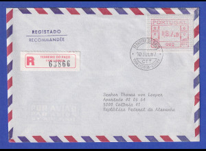 Portugal Frama-ATM Nr. 002 Wert 187,0 auf R-Brief vom Letzttag 10.7.1987