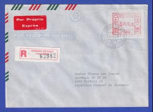 Portugal Frama-ATM Nr. 002 Wert 344,0 auf R-Eil-Brief vom Letzttag 10.7.1987
