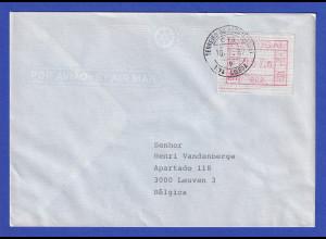 Portugal Frama-ATM Nr. 002 Wert 57,0 auf Auslands-Brief vom Letzttag 10.7.1987
