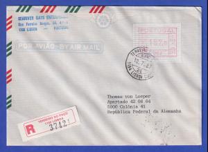 Portugal Frama-ATM Nr. 002 Wert 192,0 auf R-Brief vom Letzttag 10.7.1987