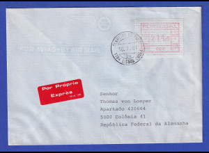 Portugal Frama-ATM Nr. 002 Wert 214,0 auf R-Brief vom Letzttag 10.7.1987