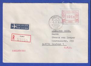 Portugal Frama-ATM 1981, R-Brief mit ATM 003 102,0 aus OA und Orts-O 3.2.83