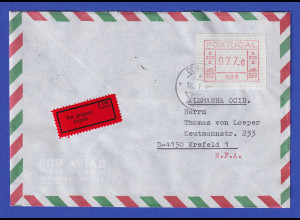 Portugal Frama-ATM 1981, Eil-Brief mit ATM 003 77,0 aus OA und Orts-O 18.1.83