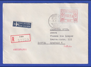 Portugal Frama-ATM 1981, R-Brief mit ATM 003 102,0 vom OA und Orts-O 3.2.83